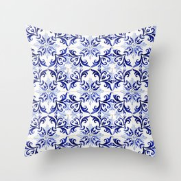 blue tile pattern VI - Azulejos, Portuguese tiles Throw Pillow