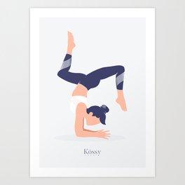 Kossy Yoga blue Art Print