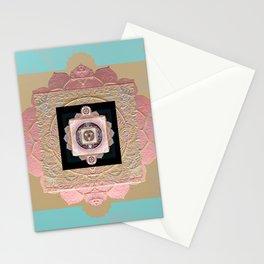 Rose Gold and Muted Turquoise Lakshmi Soul Mandala Stationery Cards