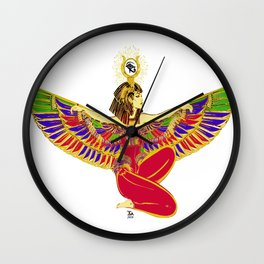 Winged Isis w/Eye of Horus Wall Clock