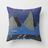 evil Throw Pillows featuring Evil Mermaids by Angela Dalinger