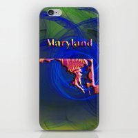 maryland iPhone & iPod Skins featuring Maryland Map by Roger Wedegis