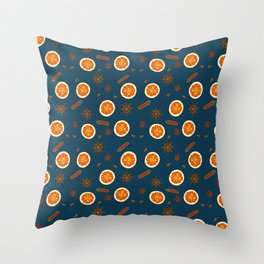 Orange Slices and Spices on Blue Throw Pillow