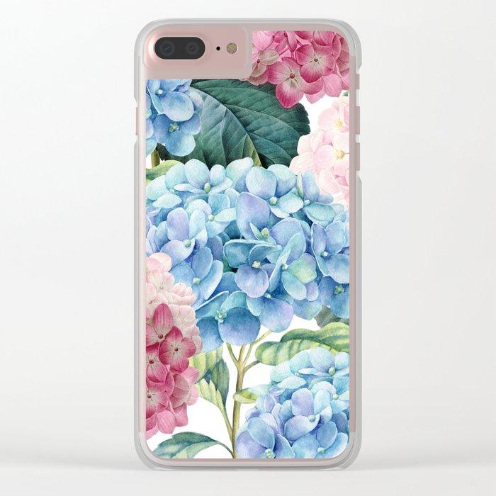 Pink Blue Hydrangea Clear iPhone Case