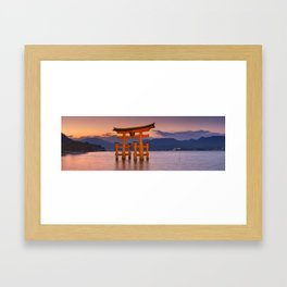 I - Miyajima torii gate near Hiroshima, Japan at sunset Framed Art Print