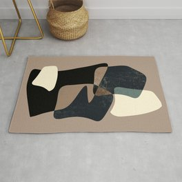 Clay Shapes Black, Teal and Offwhite Rug