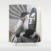magritte Shower Curtains featuring OBJECTS IN THE MIRROR ARE CLOSER THAN THEY APPEAR by Julia Lillard Art