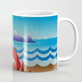 Stained Glass Crab Whale Ocean Gulls Coffee Mug