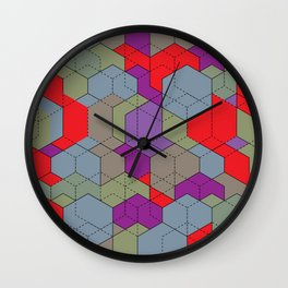 Red Cubes Wall Clock