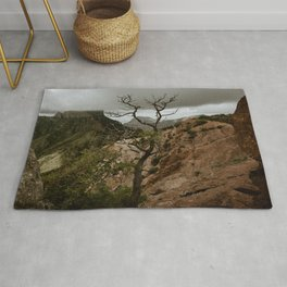 Colorful Mountaintop View with Withered Tree - Big Bend Rug