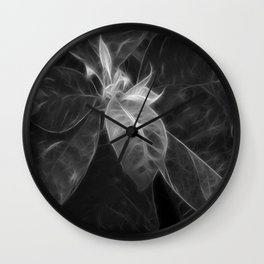 Mottled Red Poinsettia 2 B&W Wall Clock