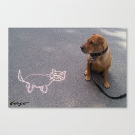 """Cat Skeptical"" from the photo series""My dog, PLaY-DoH"" Canvas Print"