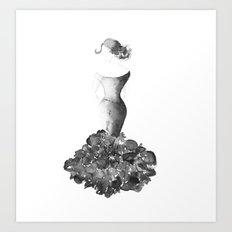 Lady, black and white Art Print
