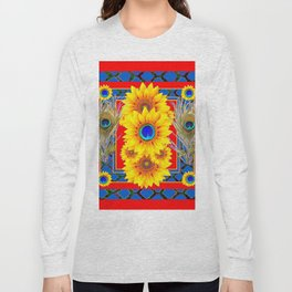 RED-BLUE PEACOCK JEWELED SUNFLOWERS DECO ABSTRACT Long Sleeve T-shirt