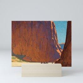 Sunset on the sandstone cliffs, Canyon de Chelly Landscape by Edgar Alwin Payne Mini Art Print
