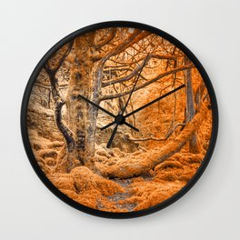 Glowing Amber Forest Wall Clock