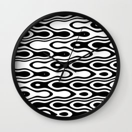 Asymmetry collection: black and white dynamic waves Wall Clock