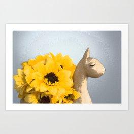 Sunflower Llama Art Print