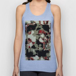 vintage psychedelic geometric painting texture abstract in red brown black Unisex Tank Top