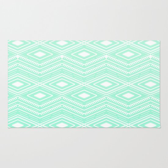 Delightful Hipster Mint Green Arrows Aztec Tribal Pattern Rug By Girlyroad | Society6