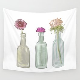 flowers in glass bottles . Pastel floralprint botanica poster prints Wall Tapestry