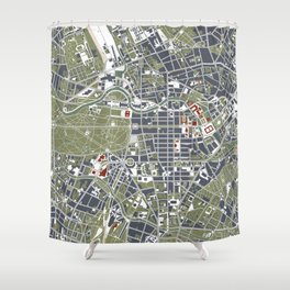 Berlin city map engraving Shower Curtain