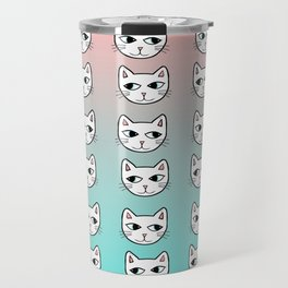 Whimsical White Cats Mint Pink Pattern Travel Mug