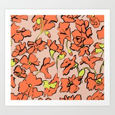 Red Floral Art Print