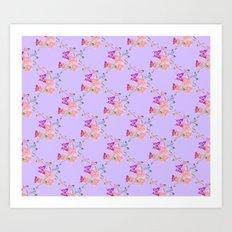 Butterflies Flowers Tiny Hearts Art Print