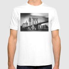 Brooklyn Bridge in B&W Mens Fitted Tee White MEDIUM