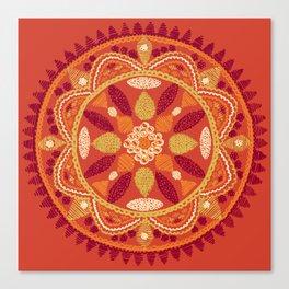 Jaipur Medallion Saffron Canvas Print