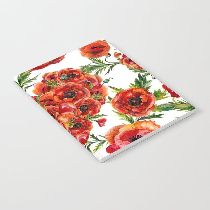 Poppy Heart pattern Notebook