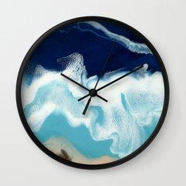 Tsambou, Samos beach, Greece, Resin abstract painting, Seascape art Wall Clock