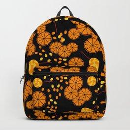 Black and orange pattern . Backpack