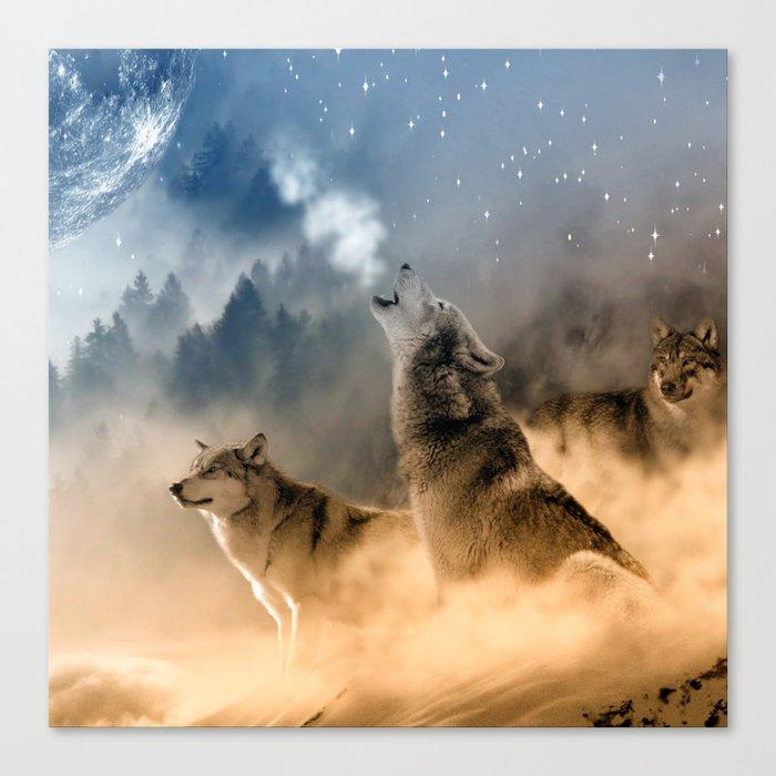 Fantasy Wolf Wolves Animal Canvas Print