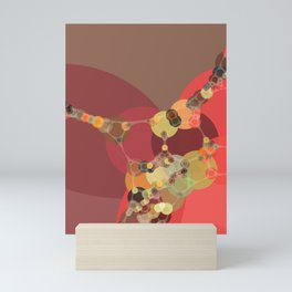 corrine - bright abstract of coral tan brown brick chartreuse Mini Art Print