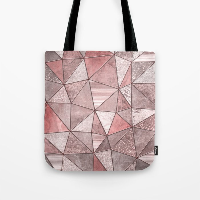 Soft Pink Coral Glamour Gemstone Triangles Tote Bag