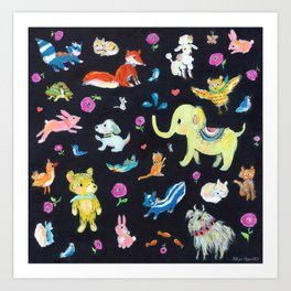 Colorful animals Art Print