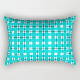 Chequered Grid - Turquoise Rectangular Pillow