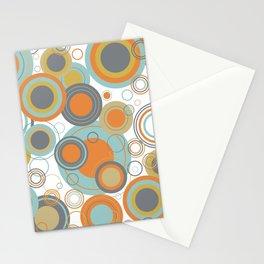 Retro Mid Century Modern Circles Geometric Bubbles Pattern Stationery Cards
