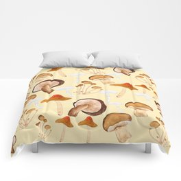 mushroom pattern watercolor painting Comforters