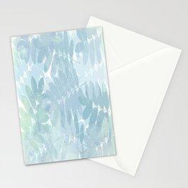 Vintage Blue Leaf Abstract Stationery Cards