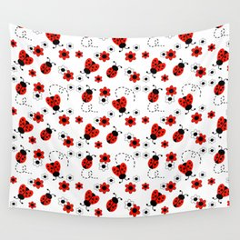 Red Ladybug Floral Pattern Wall Tapestry