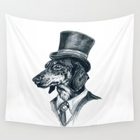 dachshund Wall Tapestries featuring Dapper Dachshund by MyOwlHasAntlers