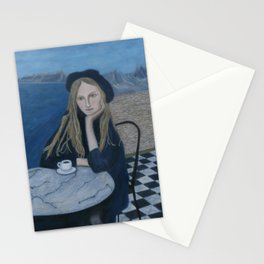 Girl with cafe and sea montain view realism Stationery Cards