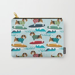 Beagle surfing pattern cute pet gifts dog lovers beagles Carry-All Pouch