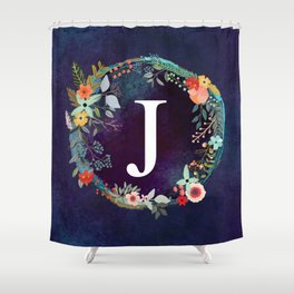 Personalized Monogram Initial Letter J Floral Wreath Artwork Shower Curtain