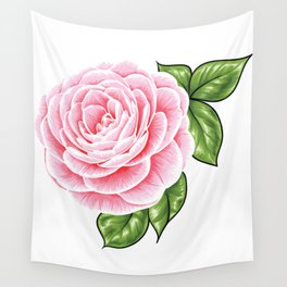 Pink Rose Flower Wall Tapestry