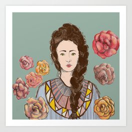 Carmella Roses Portrait Illustration Colorful Art Art Print