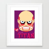 attack on titan Framed Art Prints featuring My Little Titan by TheBeardedPen